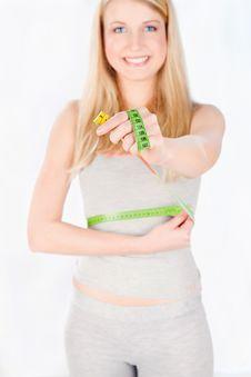 Measure Tape Around Woman S Waist Stock Photo