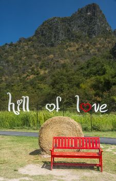 Free Red Bench In The Hill Of Love Royalty Free Stock Image - 28678926