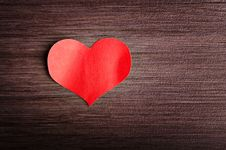 Valentine S Day Background. Red Heart On A Wooden Background Stock Images