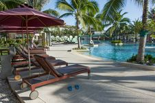 Free Empty Pool Bed Along Swimming Pool Royalty Free Stock Image - 28679076