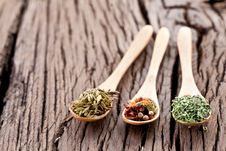 Free Variety Of Spices In The Spoons. Stock Photo - 28679670
