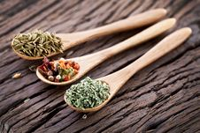 Free Variety Of Spices In The Spoons. Stock Images - 28679764