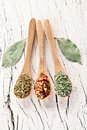 Free Variety Of Spices In The Spoons. Royalty Free Stock Photography - 28680287