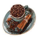 Free Coffee Beans And Spices On A White Background Royalty Free Stock Photos - 28680728