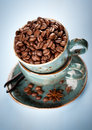 Free Coffee Beans And Spices In The Blue Cups Stock Photo - 28680770