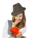 Free Teen Girl Giving A Rose. Isolated On White Royalty Free Stock Photography - 28683637