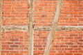 Free Old Red Brick Wall With Wooden Beams As Background Stock Photography - 28683922