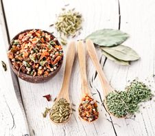 Free Variety Of Spices In The Spoons. Stock Photography - 28680132