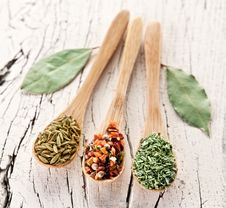 Free Variety Of Spices In The Spoons. Stock Photography - 28680242