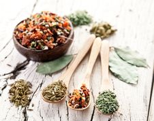 Free Variety Of Spices In The Spoons. Royalty Free Stock Photo - 28680315