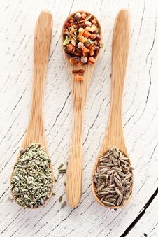 Free Variety Of Spices In The Spoons. Royalty Free Stock Image - 28680416