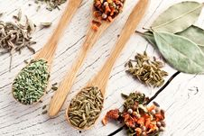 Free Variety Of Spices In The Spoons. Stock Images - 28680484