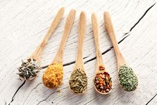Free Variety Of Spices In The Spoons. Stock Photography - 28680522
