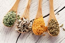 Free Variety Of Spices In The Spoons. Stock Photography - 28680562