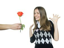Free Teen Girl  Rejoice In Red Rose Stock Photos - 28683633