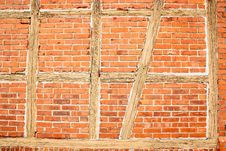Free Old Red Brick Wall With Wooden Beams As Background Royalty Free Stock Photo - 28683935