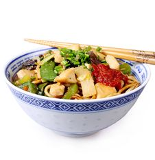Free China Pan With Chopsticks Isolated Royalty Free Stock Photo - 28684015