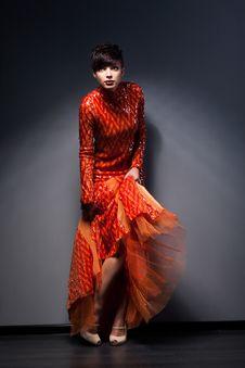 Free Trendy Brunette Posing In Red Dress. Studio Shot Stock Image - 28684351