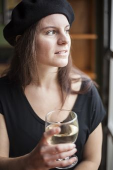 Free Young Woman Drinking White Wine Royalty Free Stock Images - 28686089