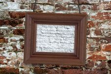 Free Wood Frame On Brick Wall Stock Image - 28688701