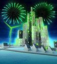 Free Green Energy Firework Celebration Above Modern City Stock Photo - 28692020