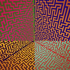 Free Warm Colors Shaded Three Dimensional Maze Box Royalty Free Stock Photo - 28693415