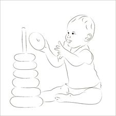 Free Baby Playing With A Pyramid Sketch Royalty Free Stock Image - 28698156