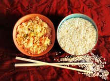 Free Cooked And Raw Rice  In A Bowl Royalty Free Stock Photo - 2870225