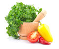 Free Parsley In Mortar And Vegetable Royalty Free Stock Image - 28708766
