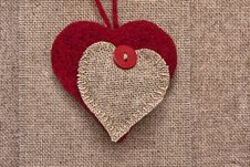 Free Art Retro Background With Fabric Hearts For Or Design Stock Images - 28700604