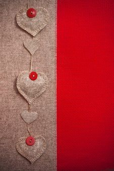 Free Art Retro Background With Fabric Hearts For Or Design Royalty Free Stock Photo - 28700755
