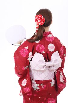 Rear View Of Young Asian Woman Royalty Free Stock Photos
