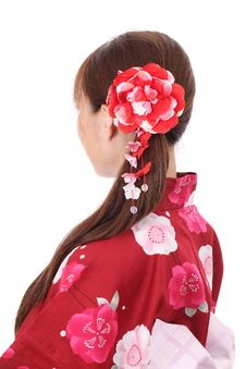 Free Profile Of Asian Woman In Kimono Royalty Free Stock Photos - 28705008