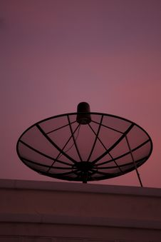 Satellite Dish At Sunset Royalty Free Stock Photos