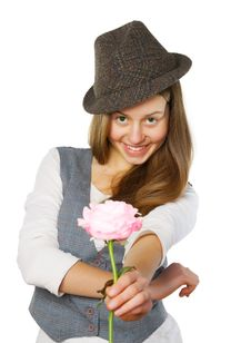 Free Teen Girl Giving A Rose. Isolated On White Royalty Free Stock Photos - 28707508