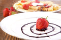 Free Pancakes With Fresh Strawberries And Chocolate Royalty Free Stock Photography - 28711017