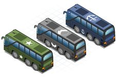 Free Isometric Set Of Military Buses Royalty Free Stock Images - 28710789