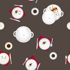 Free Covered Table, Cutlery, Tea, Food. Royalty Free Stock Images - 28711569