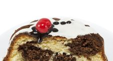 Free Marble Cake With Cherry Isolated On White Stock Photography - 28716042