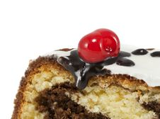 Free Marble Cake With Cherry Isolated On White Stock Photos - 28716063