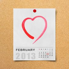Free Calendar 2013 And Red Heart On Note Paper. Royalty Free Stock Photography - 28716657