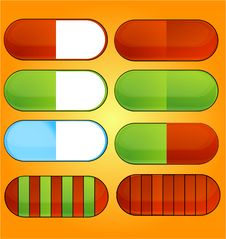 Colored And Shiny Medic Pills Set Royalty Free Stock Images