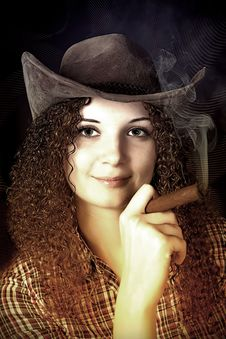 Pretty Curly Girl The Cowboy With A Cigar Stock Image