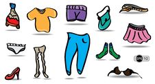 Free Cartoon And Colorful Clothes Set Royalty Free Stock Photography - 28719637