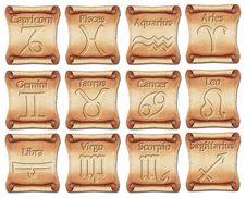 Free Set Of Zodiac Symbols On Ancient Scrolls Royalty Free Stock Photo - 28721115