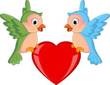 Free Bird Couple With Red Heart Royalty Free Stock Photos - 28724418