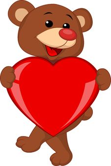 Free Bear Cartoon With Red Heart Stock Photo - 28724470