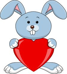 Free Rabbit Cartoon With Red Heart Royalty Free Stock Photos - 28724548