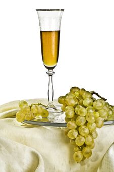 Grapes And A Glass Of Wine Stock Photography