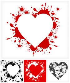 Free Hearts On Inkblots Background Stock Photography - 28726202